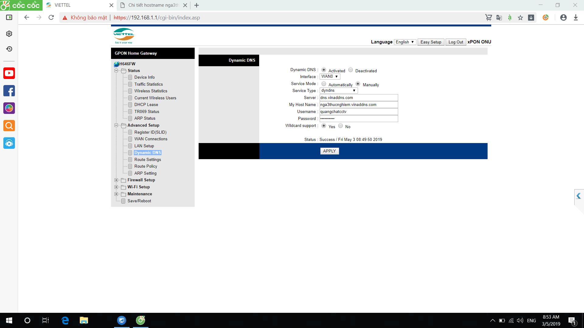 Hướng dẫn cấu hình tên miền vinaddns.com trên modem quang viettel h646w